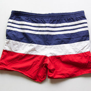 Vintage Red, White & Blue Swim Trunks
