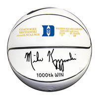 "Mike Krzyzewski 'COACH K' Autographed Duke White Panel Basketball Inscribed ""1000TH WIN 1-25-15"""