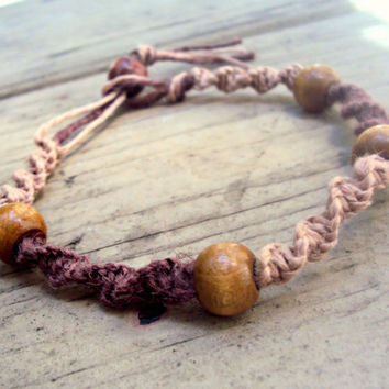 15% off CIJ SALE Macrame Anklet Brown Hemp For Women Spiral Knot