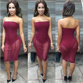 Maroon Strapless Sheer Mesh Midi Dress
