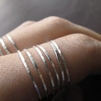 Skinny stacking ring - one fine silver ring