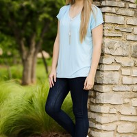 KLR Perfect Piko V-Neck - Aquamarine | Tops | Kiki LaRue Boutique