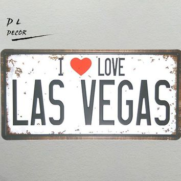"DL- ""I LOVE LAS VEGAS"" Vintage License plate"