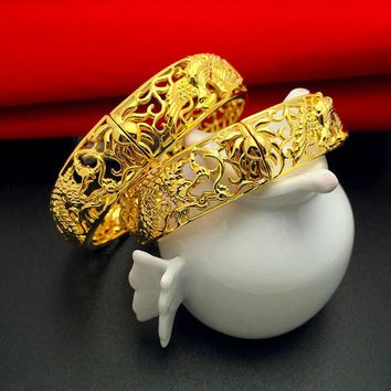 Fashion Gold Color Bracelets Cuff Bangles Chinese Style Dragon and Phoenix Design Bangle Best Gifts For Women Wedding Jewelry