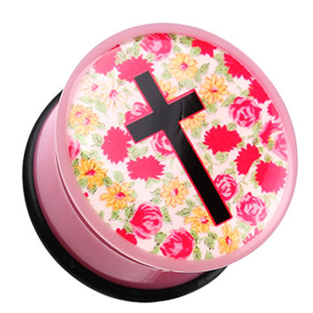 Floral Cosmic Cross Single Flared Ear Gauge Plug