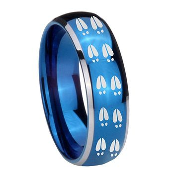 8MM Glossy Blue Dome Deer Tracks Tungsten Carbide 2 Tone Laser Engraved Ring