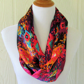 Ikat Infinity Scarf, Jeweltones, Silky Scarf, Circle Scarf, Loop Scarf, Tube Scarf , Women's Scarves, Eclectasie