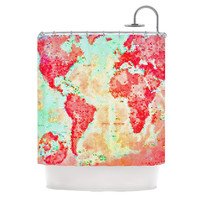 "Alison Coxon ""Oh The Places We'll Go"" World Map Shower Curtain"