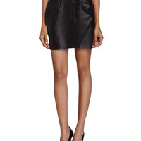 Pleated Leather Short Skirt, Black, Size: