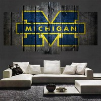 Michigan Wolverines Barnwood Style Canvas