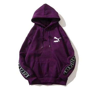 PUMA 2018 autumn and winter wear new tide brand string casual plus hooded hoodie Purple