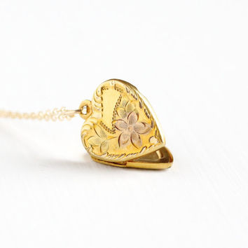 Vintage 12k Yellow & Rose Gold Filled Floral Heart Locket Necklace - Dainty 1940s WWII Era Sweetheart Flower Jewelry , H.F.B