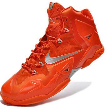 white casual shoes Nike LeBron X Galaxy Big Bang Total Orange Metallic Silver Brand sneaker