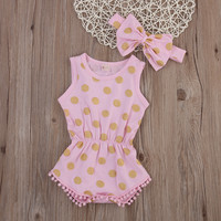 Pink and Gold Glitter Polka Dot Baby Romper + Headband