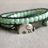 Cool Mint Bohemian beaded leather wrap, 2x bracelet, boho chic, Good Luck elephant, Chan Luu style, pearl, green