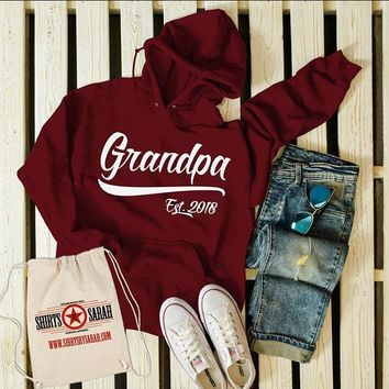 Men's Personalized Grandpa Established Year Hoodie Fathers Day New Baby Reveal Gift Idea Pullover Sweatshirt