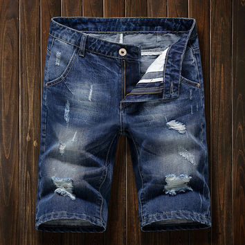 Ripped Holes Denim Summer Korean Fashion Men Casual Slim Shorts [10605324675]