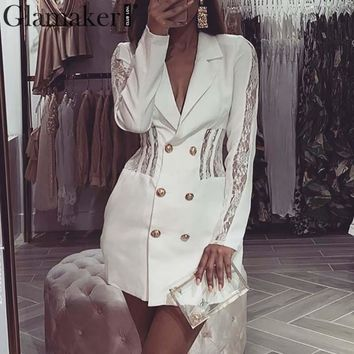 Glamaker Sexy patchwork blazer dress Women white double-breasted autumn short dress Female elegant winter party bodycon dress