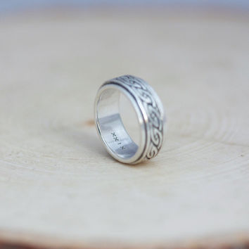 Sterling Silver Celtic Spinner ring, custom engraved on the inside