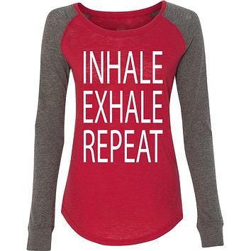 Inhale Exhale Repeat Preppy Patch Elbow Yoga Tee Shirt