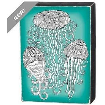 Jellyfish Color It Yourself Block Sign, Coloring Project For Adults, Decorative Wall Art for Living Room/Bedroom/Dining Room