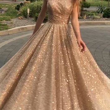 New Golden Patchwork Sequin Grenadine Draped Cut Out Backless Round Neck Sleeveless Elegant Maxi Dress