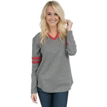 Baseball Long Sleeve Jersey Tee in Dark Heather Grey w/ Red by Lauren James