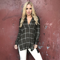 Olivaceous Plaid Blouse