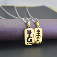 Cat and Bond Couples Hearts Pendant Necklace