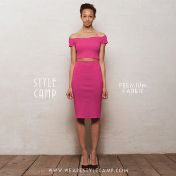 PREMIUM FABRIC Audrey Two-Piece Off Shoulder Crop Top & Pencil Skirt Co-Ord Set in Hot Pink Ponte