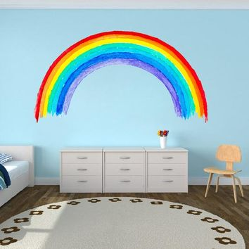 Watercolor Rainbow Fabric Wall Decal, Rainbow Wall Decor Kids Nursery Room Decor Removable Stickers