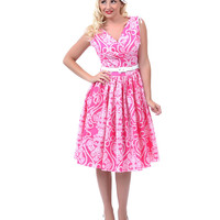 Bernie Dexter**50's Style Pink Pearls Sophie Swing Dress - Unique Vintage - Prom dresses, retro dresses, retro swimsuits.