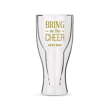 Personalized Double Walled Beer Glass Bring on the Cheer Print Gold (Pack of 1)