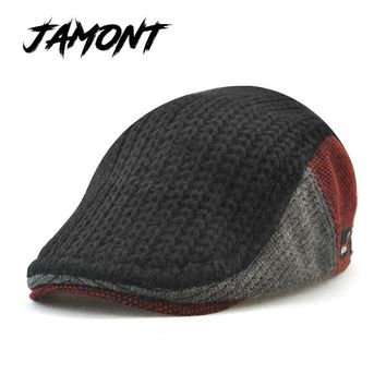 [JAMONT] New Unisex Autumn Winter Beret Buckle Hat For Men Women Solid Leisure Wool Warmer Knitted Cap Casquette Boina Masculina