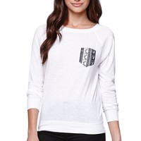 LA Hearts Crew Pullover Top - Womens Tee - White