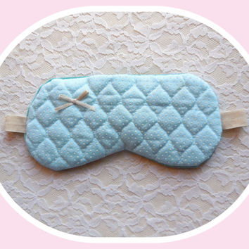 Sleep Mask - Pastel Turquoise - Quilted Swiss Dot - Satin Bow - Small Woman - Girl - Pre-teen - Teen - Light Blocking - Comfortable