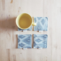Light blue Ikat fabric coaster, set of 4, fabric drink coaster great housewarming gift, mom's day gift