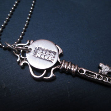 "Dr. Who Inspired  ""Tardis necklace"