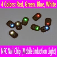 NFC Nail Chip with Double Sided Adhesive Tape LED Flash Sticker DIY Mobile Induction Light Affixed Scintillation 3D Fake Tools