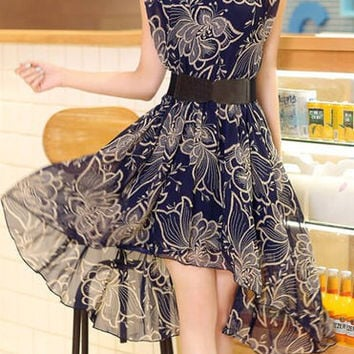 Jewel Neck Short Sleeve Floral Print Chiffon Mini Dress