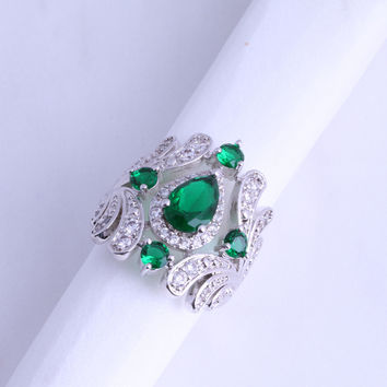 Gorgeous Green Emerald & White Cubic Zirconia 925 Stamp Silver Plated Ring for Wedding J0571 Free Shipping & Jewelry Bag