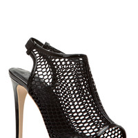 Black Netted Open Toe Sling Back Heels