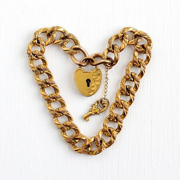 Antique Padlock Bracelet - Rosy Yellow Gold Filled Victorian Era Heart Charm With Key - Vintage 1900s Repousse Heart Lock Link Rare Jewelry
