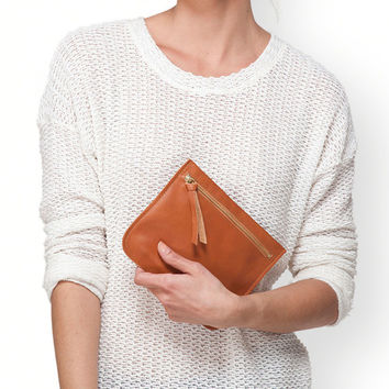 Brown leather purse by Leah Lerner