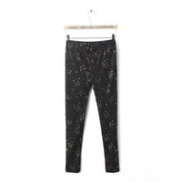 Women Black Cotton Blends Leggings