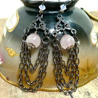 Soft Rose Quartz Swarovski Pink Opal Gunmetal Chain Niobium Earrings