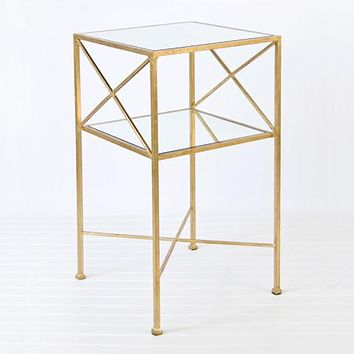 Worlds Away Henri 2 Tier Gold Square Side Table