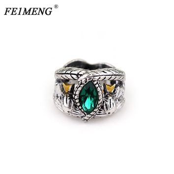 Lord Of The Aragorn's Ring of Barahir Retro Antique Silver Green Crystal Rings For Women And Men Fashion Jewelry Accessories