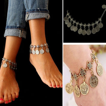 Silver Coin Anklet Adjustable Handmade Floral Design Bohemia Style Gypsy Beach Ethnic Tribal Festival Jewelry Bracelet Body-0256