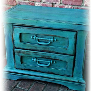 Vintage Nightstand, turquoise 2 drwr dresser, childrens furniture,, Rustic nightstand, painted furniture, rustic dresser, distressed dresser